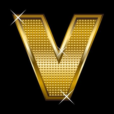shinny: Golden font type letter V