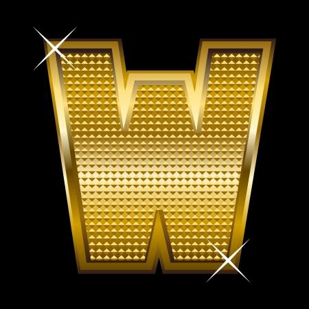 Golden font type letter W  Vector