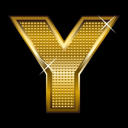 shinny: Golden font type letter Y