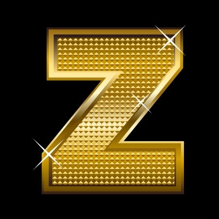 shinny: Golden font type letter Z