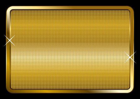 haltbarkeit: Vektor-Illustration von einem goldenen Teller isoliert auf schwarzem Hintergrund
