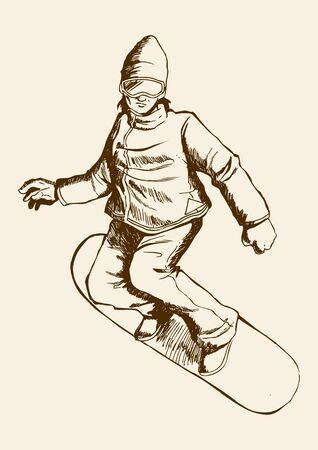 Sketch illustration of a snowboarder  Illustration