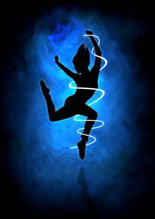 soul: Silhouette illustration of a woman figure dancing