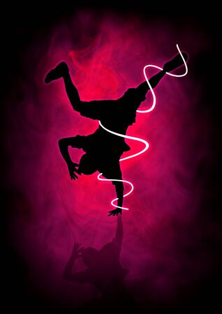 Silhouette illustration of a man figure break dancing  illustration