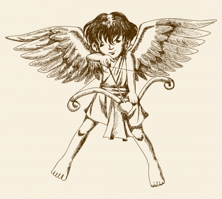 Sketch illustration of a Cupid  Vector