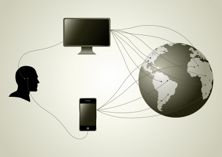Silhouette of human head figure having wire connection with computer and smartphone  Vector
