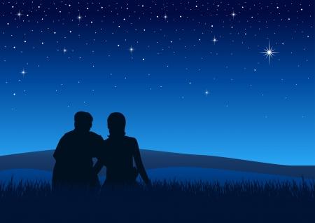 sterrenhemel: Silhouet illustratie van de koppels zitten op het gras kijken naar de nachtelijke hemel Stock Illustratie