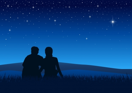 night scenery: Silhouette illustration of couples sitting on the grass watching the night sky