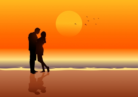 Silhouette illustration of a couple on the beach  Vector