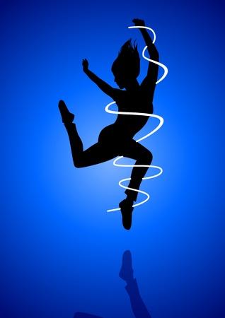 danza contemporanea: Silueta de ilustración de un baile figura de la mujer Vectores