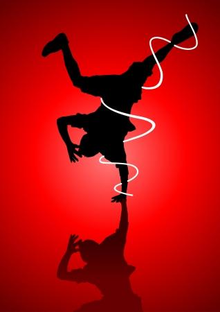 Silhouette illustration of a man figure break dancing Stock Vector - 14797253