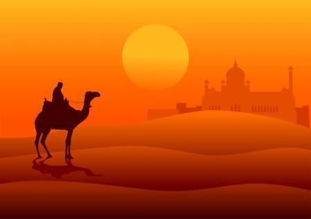 Ilustración de la silueta de un árabe montado en un camello en el desierto con arquitectura medio oriente en la distancia