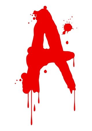 blood type: Pintura h�meda tipo de letra, la letra A Vectores