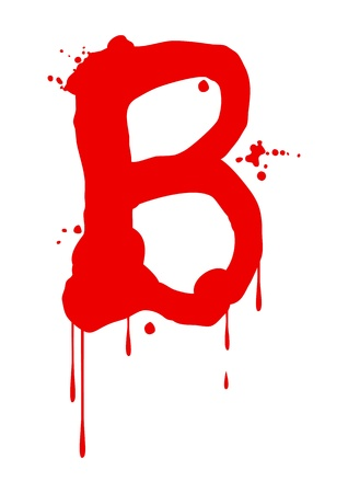 blood stain: Wet paint font type, letter B