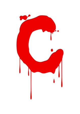 Wet paint font type, letter C Vector