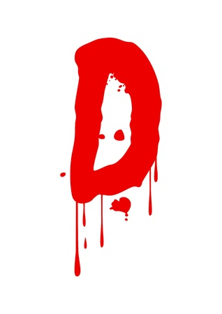 blood stain: Wet paint font type, letter D Illustration