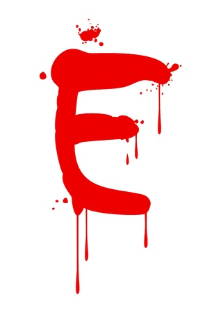 blood stain: Wet paint font type, letter E Illustration