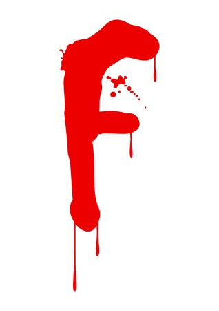 blood type: Wet paint font type, letter F