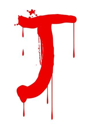 wet paint: Wet paint font type, letter J