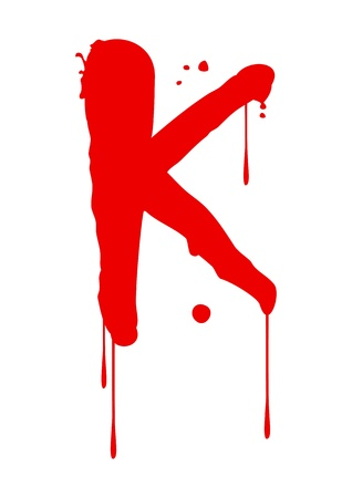 blood type: Wet paint font type, letter K