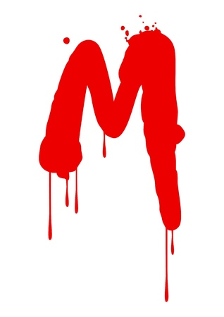 blood stain: Wet paint font type, letter M