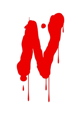 blood stain: Wet paint font type, letter N