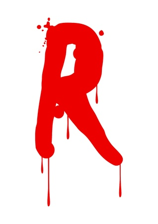 blood type: Wet paint font type, letter R Illustration
