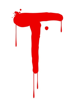 blood type: Wet paint font type, letter T