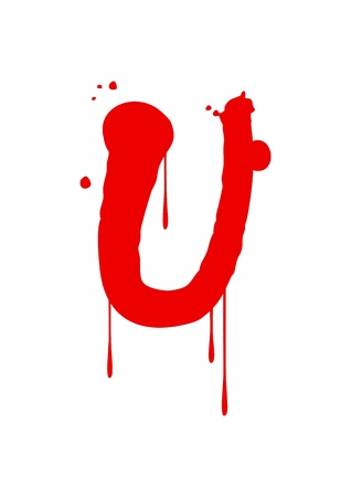 Wet paint font type, letter U Stock Vector - 14797223
