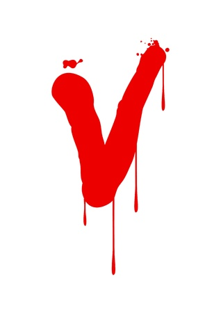 blood stain: Wet paint font type, letter V
