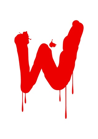 blood stain: Wet paint font type, letter W