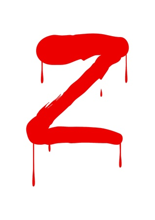 paintbrush spray: Wet paint font type, letter Z