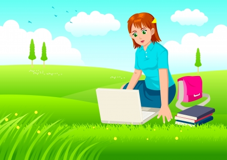 anime young: Cartoon illustration of a woman working on laptop on grass field