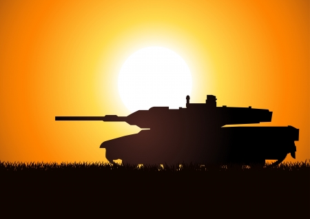 military invasion: Silhouette illustration of a heavy artillery  Illustration