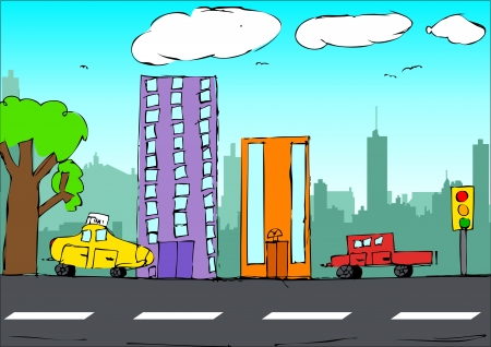 Kid drawing style illustration of a cityscape  Vector