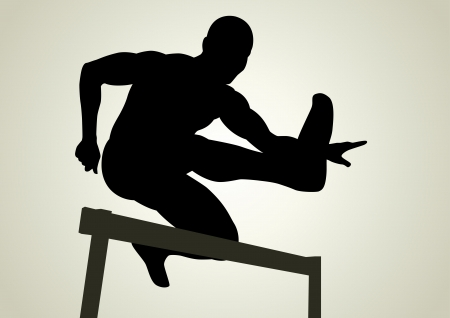 performance art: Silhouette illustration of a man figure jumping over obstacles  Illustration