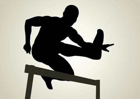 Silueta de ilustración de una figura de hombre que salta sobre los obstáculos