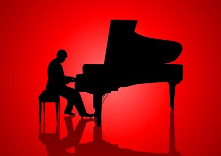 piano de cola: Silueta de la ilustraci�n de un pianista