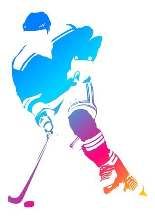 hockey sobre hielo: Figura hombre colorido de un jugador de hockey Vectores