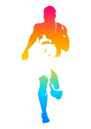 athletic symbol: Colorful man figure of a sprinter