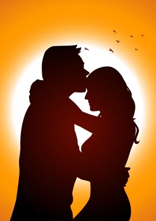 innamorati che si baciano: Illustrazione silhouette di due amanti in scena romantica