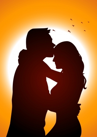 Silhouette illustration of two lover in romantic scene  Vector