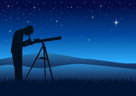 vision nocturna: Ilustraci�n de la silueta de una persona que mira el cielo nocturno a trav�s de un telescopio