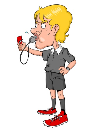 whistle: Cartoon illustration of a soccer referee