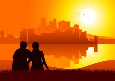 mujer mirando el horizonte: Silueta de ilustraci�n de una pareja sentada en la hierba mirando paisaje urbano durante la puesta del sol Vectores