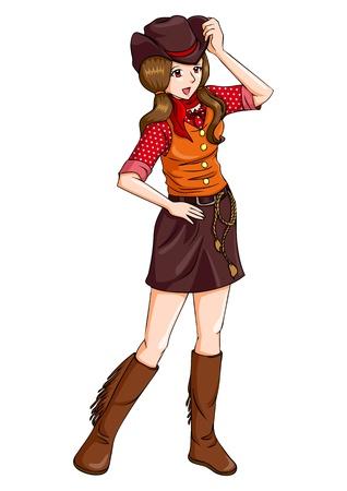 Cartoon illustratie van een cowgirl