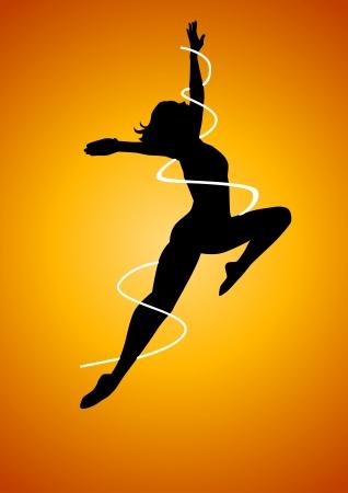frau ganzk�rper: Silhouette Illustration einer Frau Figure Dancing