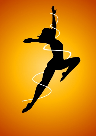 pop culture: Silhouette illustration of a woman figure dancing