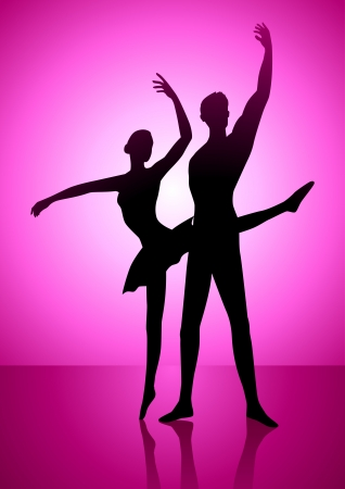 Silhouette illustration of a couple ballet dancing Stock Vector - 15323501