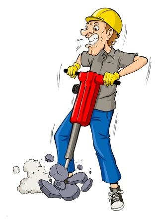 Cartoon illustration of a man drilling  Vectores
